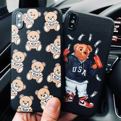 Supreme luxury toy cute bear leather design TPU cover shockproof case iPhone 6/X