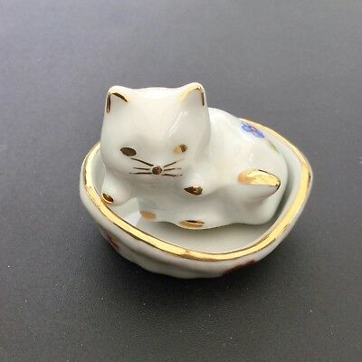 Small Limoges Porcelain Cat In Basket