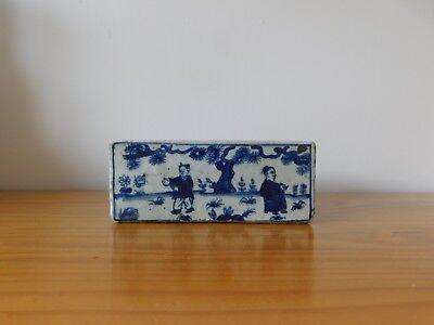 c.16th - Antique Chinese Ming Wanli Blue & White Porcelain Scholars Ink Stone