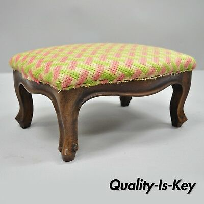 Small Antique French Provincial Country Louis XV Walnut Petite Ottoman Footstool