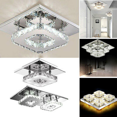 Crystal Pendant Ceiling LED Light Square Chandelier Flush Mount Lighting Fixture