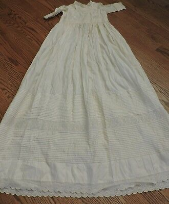 """ANTIQUE 1800'S Panel lace Cotton Christening Gown or Baby Doll Dress 42.5"""" Long"""
