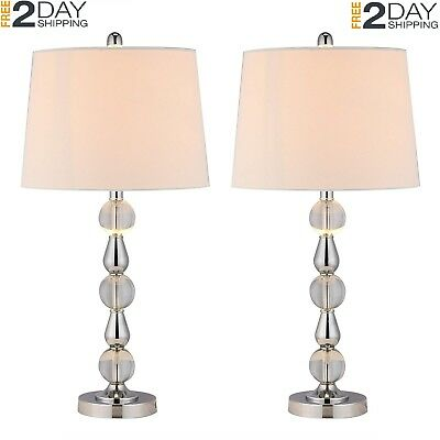 CO-Z Crystal Table Lamp Set of 2 Tall White Fabric Shade K9 Ball Base Desk New