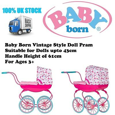 BABY BORN Baby Carriage Dolls Pram Toy Pushchair Buggy Kids Strollers Push Along