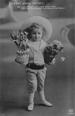 For my Sweetheart, flowers will please her better, child with pots