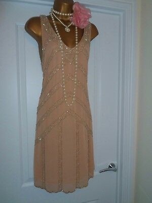 New Look 1920s Style Gatsby Flapper Charleston Beaded Sequin Dress Size 16