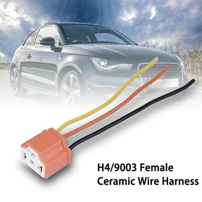 H4 Car Female Ceramic Headlight Extension Connector Plug Light Wire Socket AMS