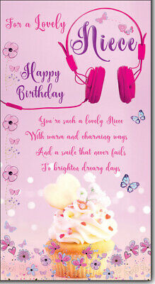 Niece Birthday Card Embossed With Sentiment Verse And Flower