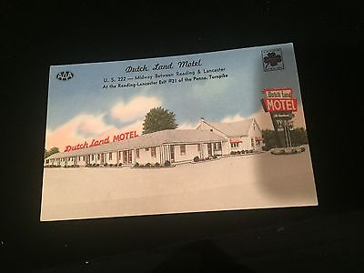 Dutch Land Motel, Between Reading and Lancaster Pennsylvania, Postcard