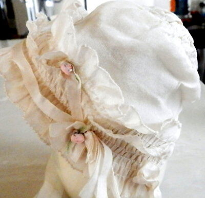 Vintage Tufted Baby Bonnet Tiny Pink Roses Ribbon