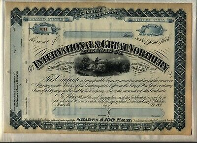 International & Great Northern Railroad Co. Stock Certificate Texas