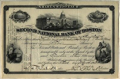 1908 Second National Bank of Boston Stock Certificate