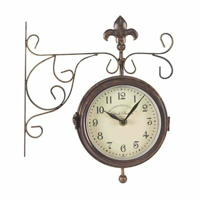 15Cm Double Sided York Station Clock & Thermometer