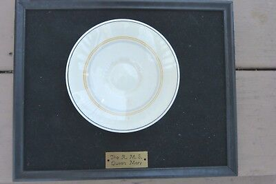 Vintage The Rms Queen Mary White Star Cunard Cruise Line Framed Dish Souvenir