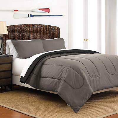Martex Two-Tone Solid Color Reversible Comforter and Sham Bedding Set - Super So