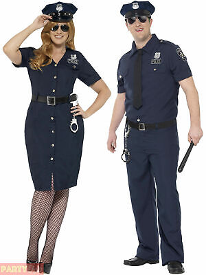 Mens Ladies Police Cop Costume Plus Size Policewoman Policeman Fancy Dress PC