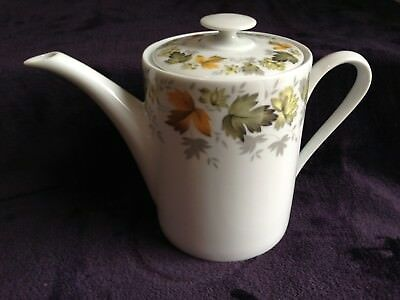 Real S. Paulo Coffee/ Teapot White with Green, Gold & Gray Leaves made in Brazil