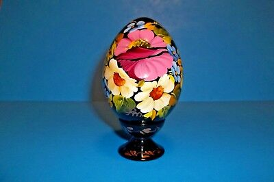 Wooden hand painted and lacquered Russian/Ukranian easter egg