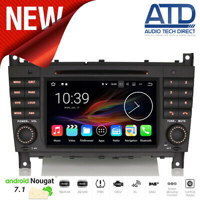 "7 "" Android 7.1 Radio DAB Navigatore Satellitare GPS Wifi Audio per Mercedes"