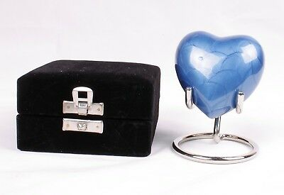 Small heart cremation ashes urn keepsake funeral memorial Blue Heart Stand & Box