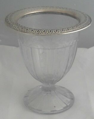 Vintage Watson Reticulated Sterling Silver & Heisey Floral Etched Glass Vase Urn