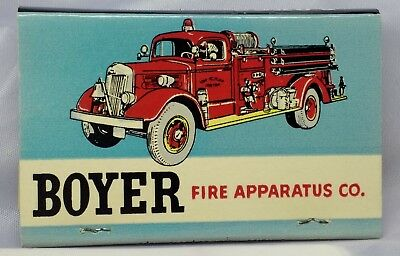 Scarce BOYER FIRE APPARATUS COMPANY Matchbook- Unstruck - NICE !