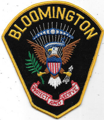 "POLICE PATCH: BLOOMINGTON INDIANA PROTECT AND SERVE MEASURES 4 1/2"" x 5 1/2"""
