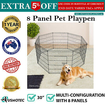 30inch Pet Playpen Portable Exercise Cage Fence Dog Puppy Rabbit Play Pen- Black