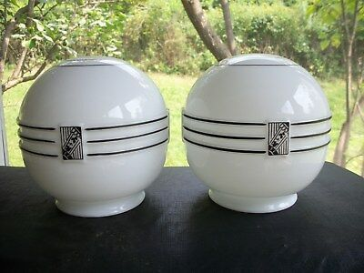 (2( Old Art Deco Embossed Milk Glass Light Shades-Excellent!