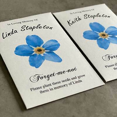 1 Personalised Forget-Me-Not Seeds - Funeral / Memorial seed packet - flower