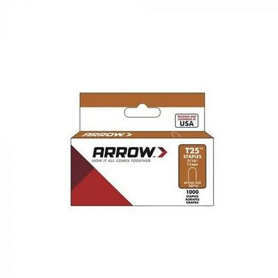 """Arrow A257W T25 Round Crown Staples White 11mm 7/16"""" Pack of 1000"""