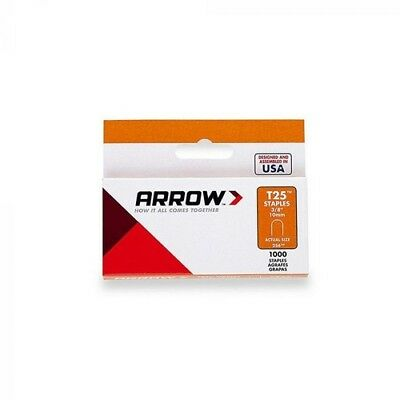 "Arrow A256W T25 Round Crown Staples White 10mm 3/8"" Pack of 1000"