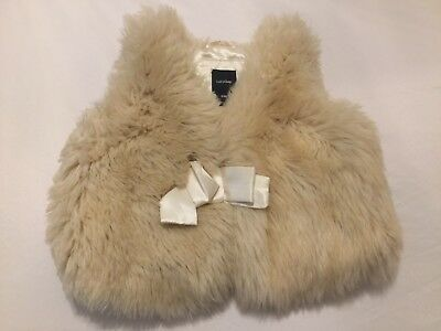 Baby Gap Girls Toddler Size S M Lined Fleece Fuzzy Beige Off White Vest Shirt
