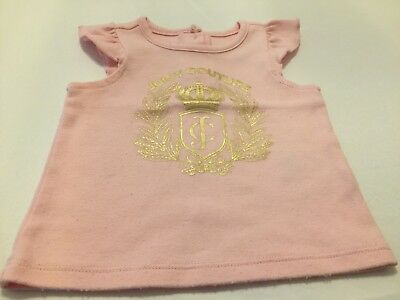 Juicy Couture Baby Girls Infant Size 18 Months Pink Short Sleeve JC Crown Top