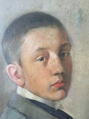 Antique 19th century French Oil Portrait of A Young School Boy, oil on canvas