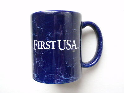 Vintage FIRST USA BANK Cobalt Blue Marble Ceramic Coffee Mug OUT OF BUSINESS