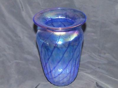 Studio Art Glass Iridescent Vase Signed