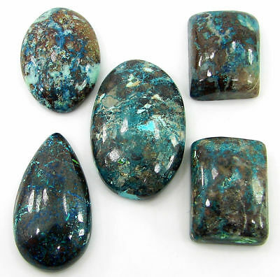 128.40 Ct Natural Azurite Loose Cabochon Gemstone Lot of 5 Pcs Stone - 21334