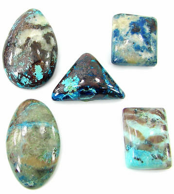 46.05 Ct Natural Azurite Loose Cabochon Gemstone Lot of 5 Pcs Stone - 21330