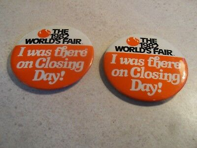 TWO 1982 Worlds Fair Knoxville Last Day Button