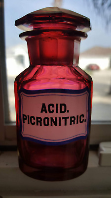 RED Crystal Cut Glass Apothecary Bottle:  ACID. PICRONITRIC.  Fantastic color!