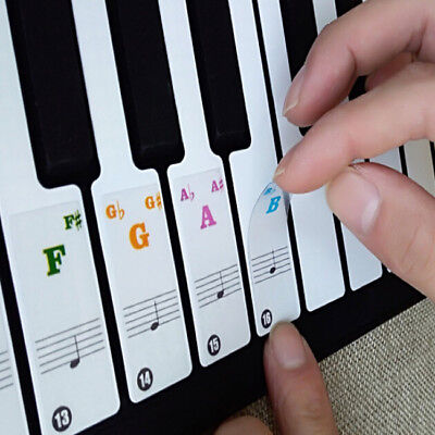 Piano Stickers Keys Removable Coating for 49 / 61 / 76 / 88 Keyboards White D