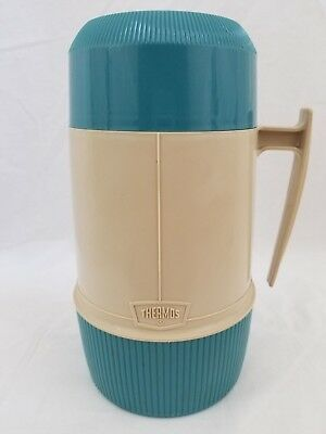 Vintage Thermos Wide-Mouth Pint Size Vacuum Seal No. 6202 - Clean - Blue/Beige!!