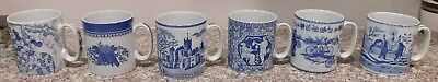 Set of 6 Spode Blue Room Collection China  Mugs Cups Greek Indian Cycling Grapes