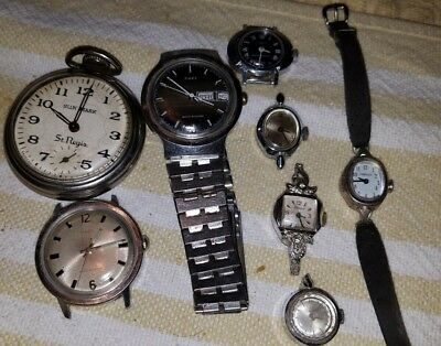 Vintage Junk Drawer Lot..... Pocket Watch And 9 Watches