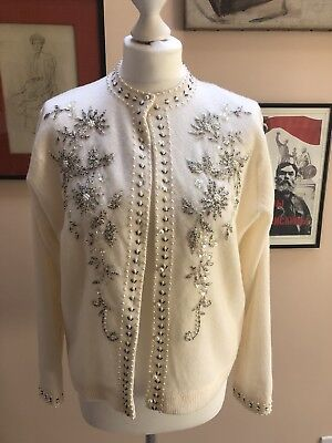 Vintage 60s Cream Sequin Embroidered Wool Button Up Catdigan Size UK 12-14