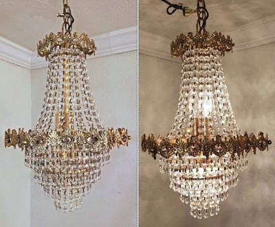 Antique French empire crystal chandelier french basket wedding cake gilded brass