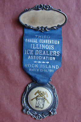 1911 Art Nouveau Celluloid Watch Fob & Ribbon Illinois Ice Dealers Rock Island