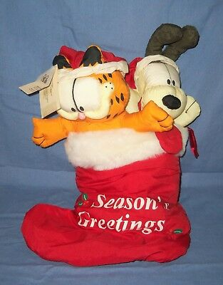 Spencer Jim Davis Garfield Cat & Odie Plush Stuffed Animal Christmas Stocking