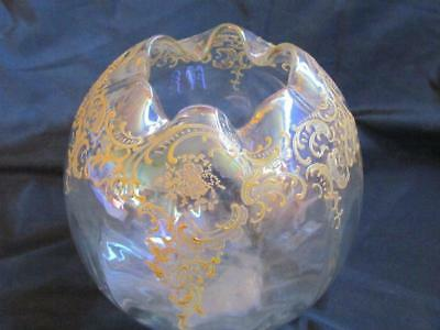 Antique Blown Glass Melon Bowl with Gold Encrusted
